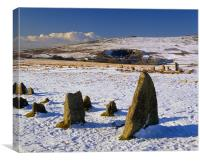 Merrivale Stone Rows  after Snowfall, Canvas Print