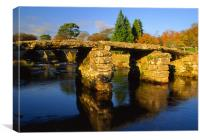 Postbridge,Clapper Bridge & East Dart River, Canvas Print