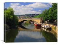 North Parade Bridge & River Avon, Canvas Print