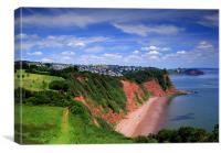 South West Coast Path Near Shaldon,Devon, Canvas Print