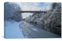 Bridge over frozen Sheffield Canal, Canvas Print