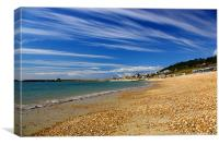 Lyme Regis Beach Looking Towards Harbour & Cobb, Canvas Print