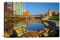 Pocket Park Next to River Don,Sheffield, Canvas Print