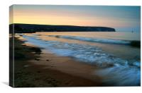Sunset over Swanage Bay, Dorset, Canvas Print