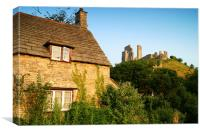 Corfe Castle & Cottage, Canvas Print