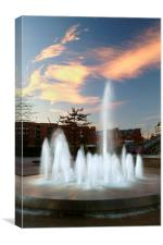 Water Feature in Sheffield Rail Station, Canvas Print