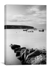 Swanage Bay in Mono, Canvas Print