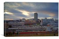 Sunset over Sheffield Skyline, Canvas Print