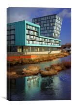 Modern Apartment Buildings next to River Don, Canvas Print