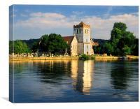All Saints Church & River Thames,Bisham, Canvas Print