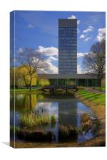 University Arts Tower & Weston Park Pond, Canvas Print
