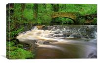 Packhorse Bridge and Waterfalls at Rivelin, Canvas Print