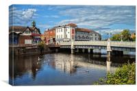 River Tone and The Bridge, Taunton , Canvas Print