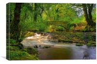 Rivelin Packhorse Bridge Reflections, Canvas Print