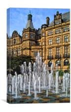 Sheffield Town Hall and Goodwin Fountain , Canvas Print