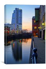 Bridgewater Place and River Aire in Leeds , Canvas Print