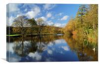 River Derwent Reflections at Bamford , Canvas Print