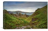 Peverill Castle and Cave Dale , Canvas Print