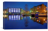 Victoria Quays Night Reflections, Canvas Print