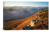 Bamford Edge and Win Hill Mist , Canvas Print