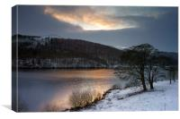 Winter Sunset over Ladybower , Canvas Print