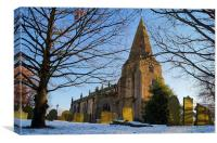 The Church of St Peter, Hope, Derbyshire , Canvas Print