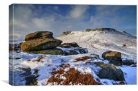 Carl Wark and Higger Tor After Snowfall  , Canvas Print