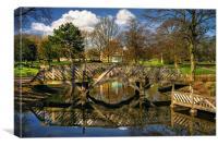 Weston Park Pond and Footbridge , Canvas Print