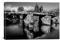 Postbridge Clapper Bridge in Mono , Canvas Print