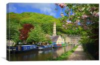 Rochdale Canal at Hebden Bridge , Canvas Print