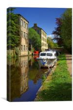Canal Reflections at Hebden Bridge , Canvas Print