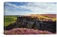 View along Burbage Rocks and Valley , Canvas Print