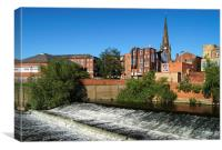 Rotherham Town Centre and River Don , Canvas Print