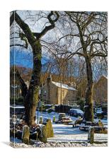 Bamford Village in Winter, Canvas Print