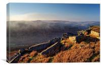 Win Hill Mist from Bamford Edge , Canvas Print