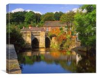 Horrabridge and River Walkham, Canvas Print