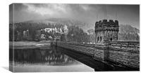 Derwent Dam in Mono , Canvas Print