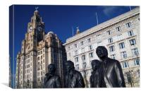 Beatles Statue and Liver Building                 , Canvas Print