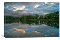 Chard Reservoir Dawn Reflections                  , Canvas Print