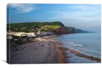 Sidmouth Seafront and Beach                     , Canvas Print