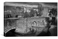 Medieval Exe Bridge in Mono                     , Canvas Print