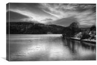 Ladybower Winter Reflections in Mono, Canvas Print