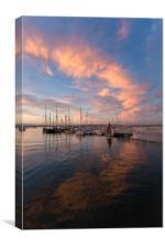 brixham marina sunset, Canvas Print