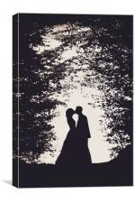 Romantic bride and groom kissing, Canvas Print