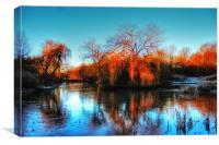 Golden winter trees, landscape, Canvas Print