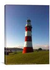 Plymouth Hoe Lighthouse, Canvas Print