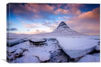 Winter at Kirkjufell , Canvas Print