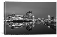 Manchester at night mono, Canvas Print