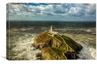 South Stack in 70mph winds, Canvas Print