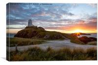 Tyr Mawr Lighthouse at Sunset, Canvas Print